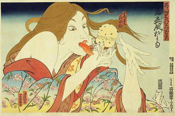 Today's Special, 1982, by Masami Teraoka (Japanese, b. 1936). From the series 31 Flavors invading Japan. Woodblock print; ink and colors on paper. Acquisition made possible by Richard Beleson and Kim Lam Beleson, 2004.22.
